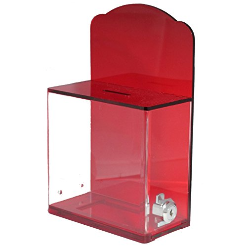 My Charity Boxes - High Quality Locked Donation Box with Back Wall Curved Display Area - For Fundraising Donation Box - Ticket Box - Collection Box - (Translucent Red) (4 Coin Display Box compare prices)