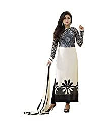 Sanjana Design Women's White Pure Georgette Unstitched Dress Material (WhitePURE-FreeSize_WhiteBlue_FreeeSize)