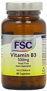 FSC 500mg Niacinamide Vitamin B3 - Pack of 60 Vegetarian Capsules