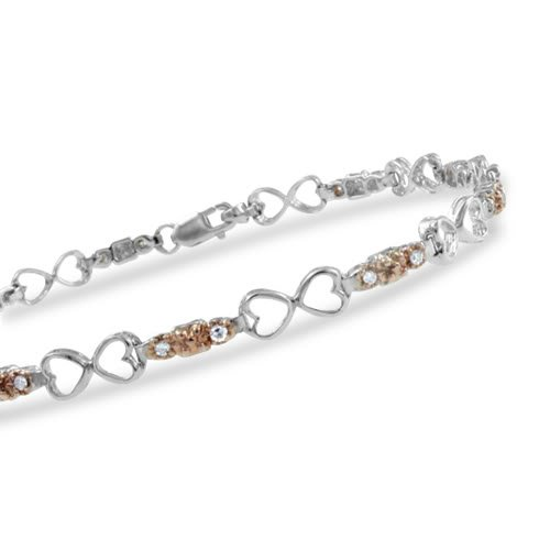 Natural Diamond Bracelet in 10k White Gold Heart Bracelet (H, SI-I, 0.23 cttw)-Certificate of Authenticity -7 ""