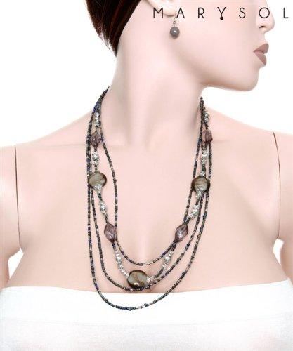 Fashion Assorted Black Stone Beads Necklace & Earring Set
