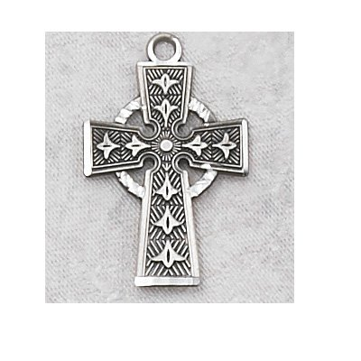 Sterling Silver Irish Celtic Cross Medal with 18
