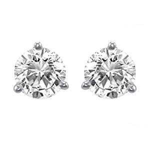 Platinum Round Basket Setting 3-Prong Diamond Stud Earrings (1/4 cttw, G-H Color, VS1-VS2 Clarity)