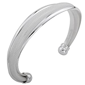 Yazilind Jewelry Noble Cuff Traditional Plated Silver Bangle Bracelet for Women Gift Idea