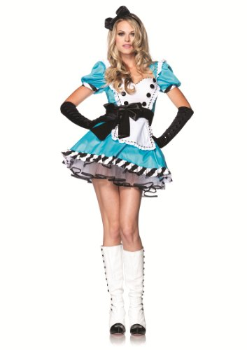 2 Piece Ruffle Trimmed Apron Charming Alice Costume in Blue/White, Sizes Xsmall (UK 6) Small/Medium (UK 8-10) Medium/Large (UK 10-12)