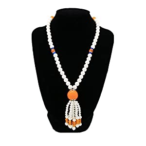Romantic Time Dragon Ball Beewax Beaded Tridacna Shell Sunny Doll Tassels Graceful Y Necklace (Orange)