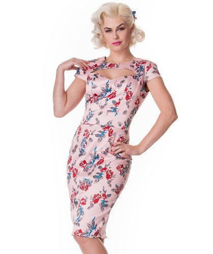 Hell Bunny Pink Rosalie Pencil Dress S - UK 8 / EU 36