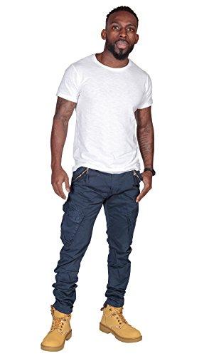 Pantaloni Cargo Uomo Slim Fit - Blu Pantaloni da uomo con multitasche