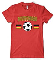 (Cybertela) Deutschland Flag Soccer Ball Women's T-shirt Country Sport Tee