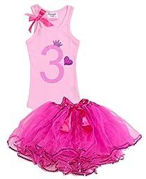 Girls Birthday Party #3 Hot Pink Tutu Pink Tank Top Set By Bubblegum Divas