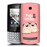Head Case Piper The Pug And Kisses Design Back Case Cover For Nokia Asha 303