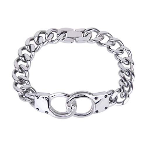 Men'S Stainless Steel Handcuff Connect Cuban Curb Link Chain Bracelet--Silver