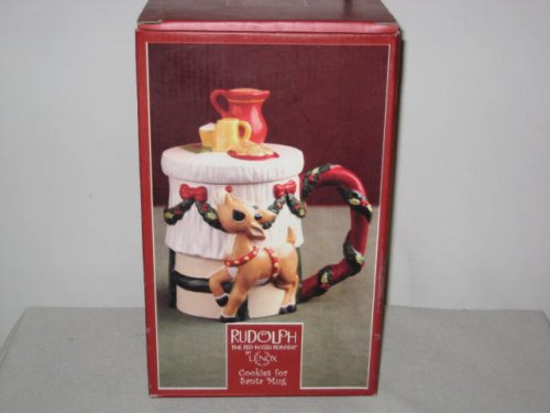 Lenox Porcelain Rudolph Red Nose Reindeer Cookies For Santa Mug