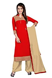 BanoRani Red & Beige Color Faux Georgette & Jacquard Straight Fit With Lace Work Unstitched Salwar Suit Dress Material (Plazzo)