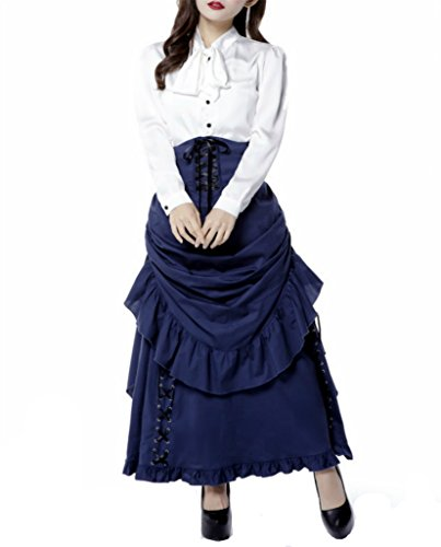Victorian-Steampunk-Navy-Blue-Bustle-Two-Piece-Skirt