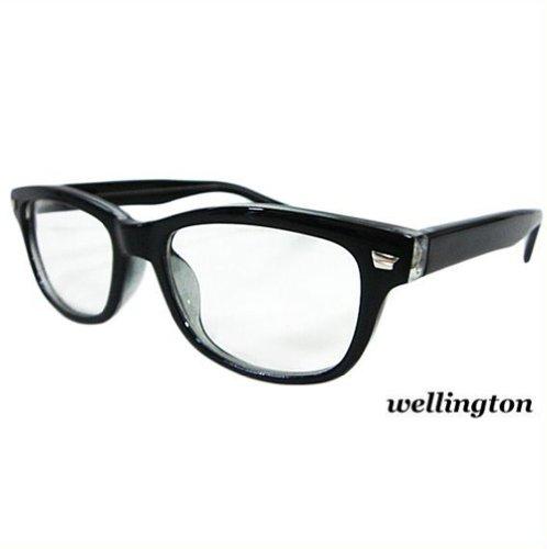 ブラック ウェリントン型サングラス 伊達めがね