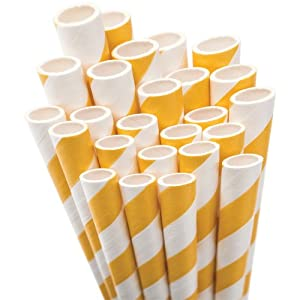 "Jumbo Straw Unwrapped 7.75"" 50/Pkg-Bright Yellow/White Striped"
