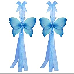 Butterfly Curtain Tiebacks Blue Crystal Nylon Butterflies Pair Set Decorations Window Treatment Holdback Sheer Drapes Holder Drapery Tie Back Decorate Baby Nursery Bedroom Girl Room Kid Decor Home DIY