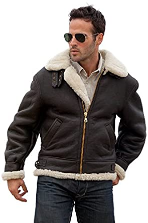 Men's Sheepskin B-3 Bomber Jacket, BROWN/CREAM, Size XSMALL