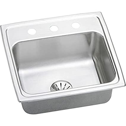 "Elkay LR1919PD1 18 Gauge Stainless Steel 19.5"" x 19"" x 7.5"" Single Bowl Top Mount Kitchen Sink Kit with 1 Hole"