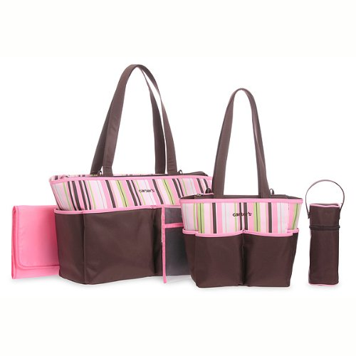 Carters 5 Piece Diaper Bag Set - Brown & Pink Stripes