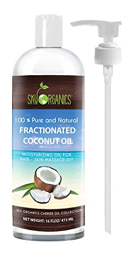Fractionated Coconut Oil by Sky Organics 16oz- 100% Pure MCT Oil (Cocos Nucifera) with PUMP. Ideal as a Massage Oil & Aromatherapy. Carrier Oil Made in USA (Aroma Free Coconut Oil compare prices)