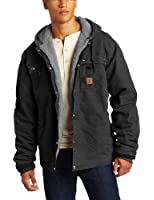 Carhartt Men's Big & Tall Sherpa Lined Sandstone Hooded Multi Pocket Jacket J284