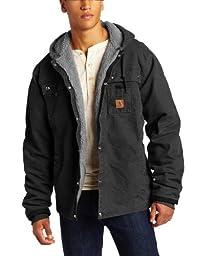 Carhartt Men\'s Big & Tall Sherpa Lined Sandstone Hooded Multi Pocket Jacket J284,Black,XX-Large Tall