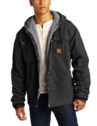 Carhartt Men's Big & Tall Sandstone Duck Hooded Multi Pocket Jacket, Black, Large
