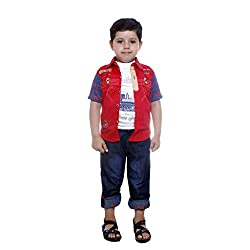 Colors Kids Shirt Tshirt Pant Set For Boys(2 - 3 Yrs) Red