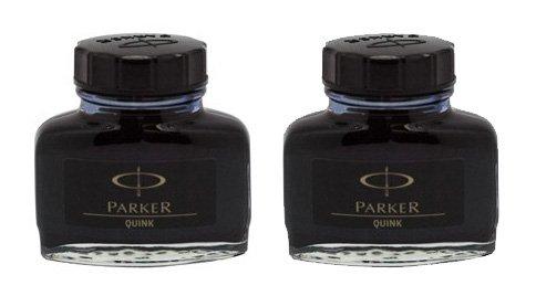 Parker-Quink : Flacon d'encre permanente-Noir-Lot de 2