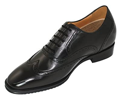 TOTO - F73A01 - 2.8 Inches Taller - Height Increasing Elevator Shoes (Black Wing Tip Dress Shoes)