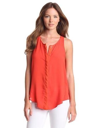 Patterson J. Kincaid Women's Solid Rayon Chiffon Hutchinson Shirt Tail Tank, Orange.com, X-Small