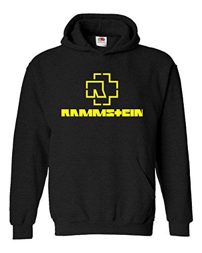 "Felpa Unisex ""Rammstein - yellow logo"" - Felpa con cappuccio rock band LaMAGLIERIA, XL, Nero"