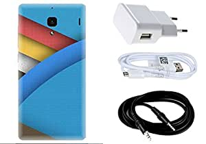 Spygen Xiaomi Redmi 1S Case Combo of Premium Quality Designer Printed 3D Lightweight Slim Matte Finish Hard Case Back Cover + Charger Adapter + High Speed Data Cable + Premium Quality Aux