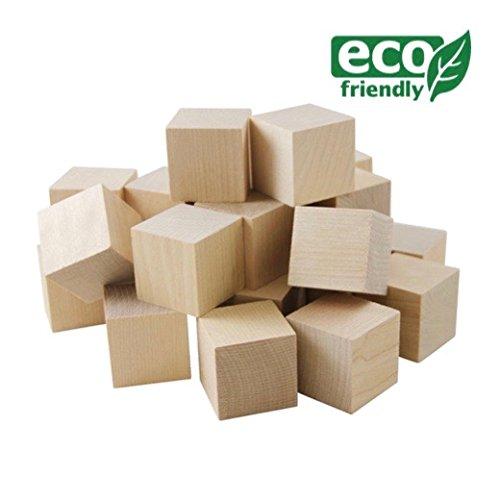 24 bloques de madera, cubos de madera, bloques de apilado de madera, bloques de construcción de madera, de madera cubos dados, en 25mm - Listo para el bricolaje y decorar para Alphablocks / Numberblocks / Juego de Dados / Madera Rompecabezas / Baby Showers - ideal para los niños / Niños / Familia / Los artesanos