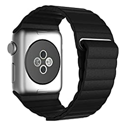 LSoug Apple Watch Band - Magnet Closure, 42mm Soft Genuine Leather Loop Bracelet Strap, Replacement Wrist Band for iWatch - Black