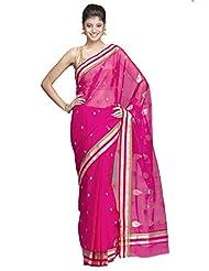 Pretty Pink Chanderi Saree With Silver & Gold Zari Striped Border And Gold Zari Motifs