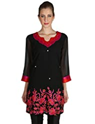 Black And Red Georgette Kurti