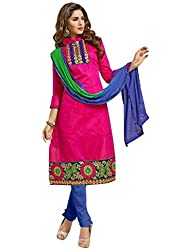 Vibes Womens Cotton Patch Work Straight Dress Material (V100-7010 _Pink _Free Size)