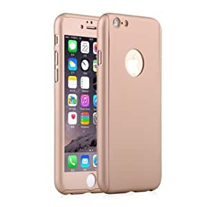 for iPhone 6 / 6s 360 Degree Ultimate Protective Case Cover with Tempered Glass - Rose Gold