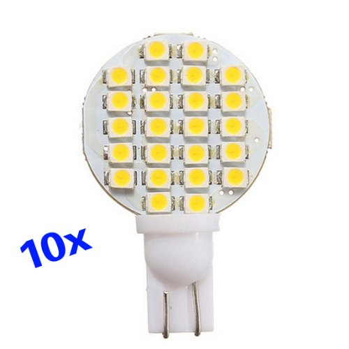 Toogoo(R) 10X T10 194 158 168 501 921 W5W 24 1210 Smd Led Warm White Rv Light Lamp Bulb