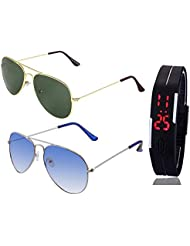 GOLDEN GREEN AVIATOR SUNGLASSES AND SILVER LIGHT BLUE AVIATOR SUNGLASSES WITH TPU BAND RED LED DIGITAL BLACK DIAL...