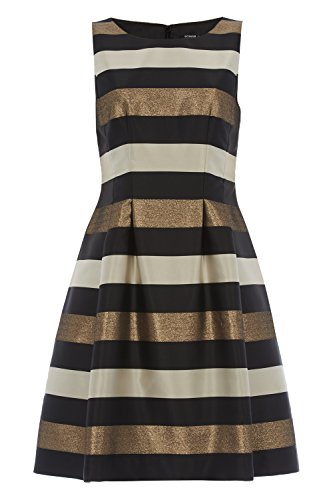 Womens Metallic Stripe Detail Skater Dress - Ladies - Metallic - Size 10 12 14 16 18