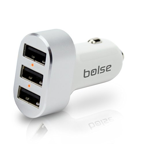 Bolse® USB Car Chargers (27W / 5.4Amps), Provides Maximum Power For 3 Devices At Once With SmartIC™ Technology Charging Station for iPhone 5, 4S; Samsung Galaxy S5, S4, Galaxy Note 3, 2; iPad Air, 5, mini; MP3 Player image