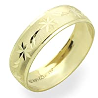 14K Yellow Gold Wedding Bands For Women 6MM Diamond-Cut Ring , Size 6.5