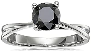 10k White Gold Black Diamond Solitaire Ring (1 cttw), Size 7