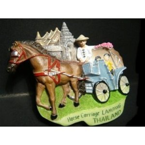 Horse Carriage Lampang Thailand Souvenir 3D High Quality Resin 3D fridge Refrigerator Thai Magnet Hand Made Craft