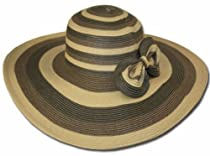 EH2041LF - Womens UPF 50+ 100% Paper Straw 3-Tone Stripes Bow Accent Wide Brim Floppy Hat - Natural/One Size