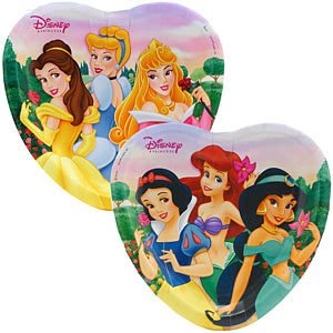 Disney Princess Party Heart Shaped Plates - Disney Princess Plates - 8 Count - 1